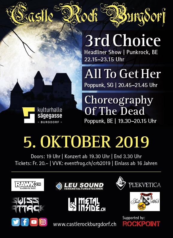 Flyer CastleRockBurgdorf 4.Oktober 2019. Organisiert durch Verein ROCKPOINT